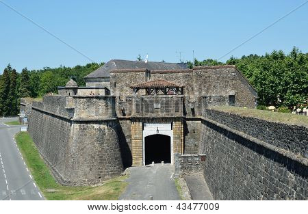 Fortified Medieval Walls Of The French Town Navarrenx