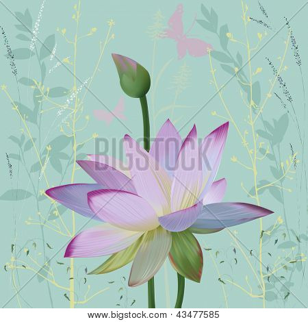 Pink lotus over abstract background with silhouettes plants.