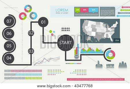 Set elements of infographics with map USA