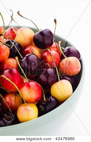 Rainier And Black Cherries Mixed In A Bowl