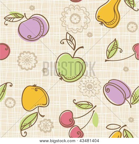seamless fruits pattern. kitchen illustration