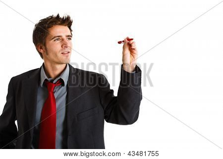 Friendly businessman writing on the screen. You can place your own text