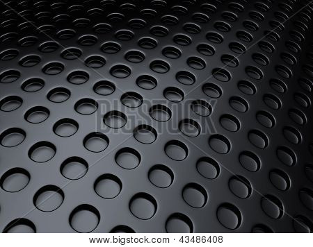 Black Metallic Background With Perforation