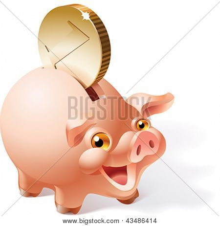Big golden coin is dropping into a smiley pink piggy bank. Vector illustration.