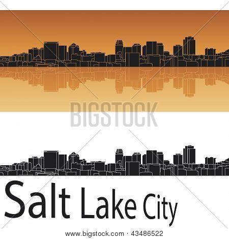 Salt Lake City Skyline In Orange Background