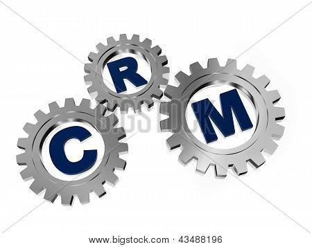 CRM en engranajes gris plateado