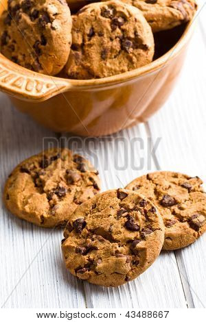 the chocolate cookies on kitchen table