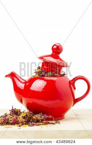 Red Teapot With Healing Herb - Echinacea