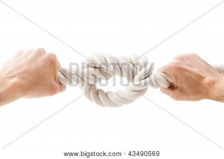 Hands Tied Knot On A Rope