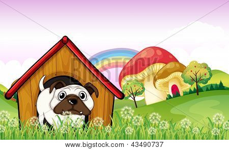Ilustração de um bulldog no doghouse perto os cogumelos gigantes