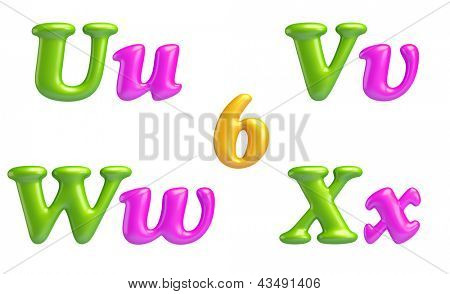 3D Font creative. ABC collection. Isolated. Alphabet type letters with numbers and symbols. U, V, W, X and 6. High Quality clean sharp letters.