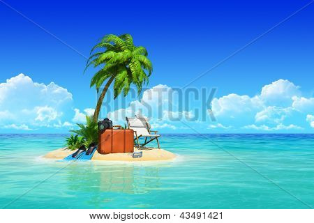 Desert tropical island with palm tree, chaise lounge, suitcase.  Concept for rest, holidays, resort, travel.