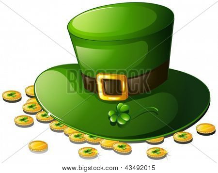 Illustration of a green hat and coins for St. Patrick's Day on a white background