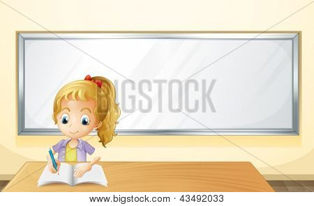Illustration of a girl writing in front of a white  board