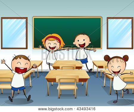 Illustration of kids rehearsing inside the classroom