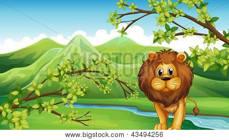 Illustration of the mountain view with a lion and a river