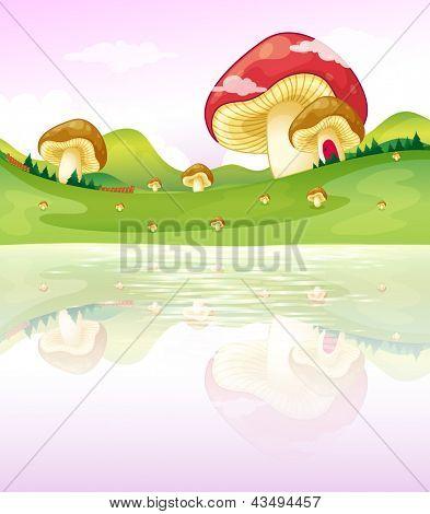 Illustration of the thmushrooms near the lake