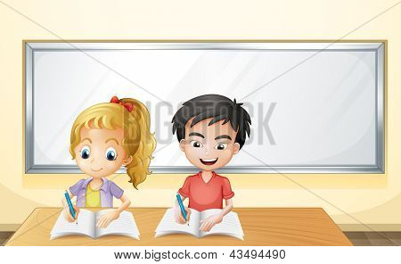 Illustration of a boy and a girl in front of an empty whiteboard