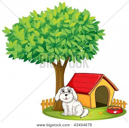 Illustration of a white puppy beside a doghouse under a big tree on a white background