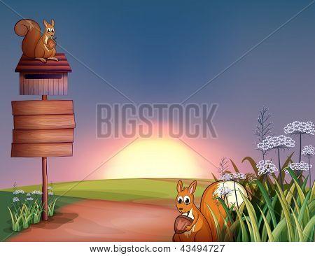 Ilustração dos dois esquilos nas colinas com uma tabuleta e uma caixa de correio