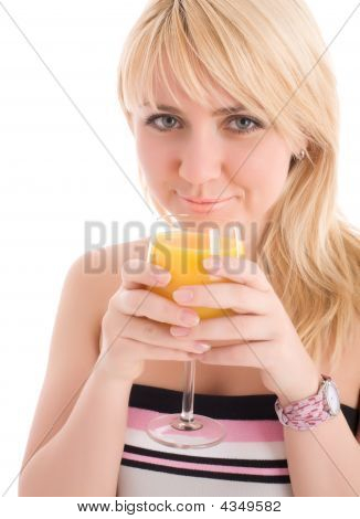 Attractive Girl Drinking Fresh Orange Juice