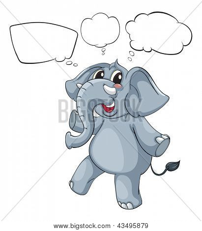 Illustration of the empty thoughts of a gray elephant on a white background
