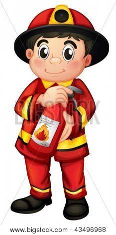 拿着灭火器的消防员 卡通