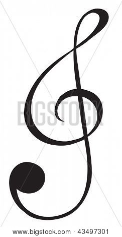 Illustration of a G-clef sign on a white background