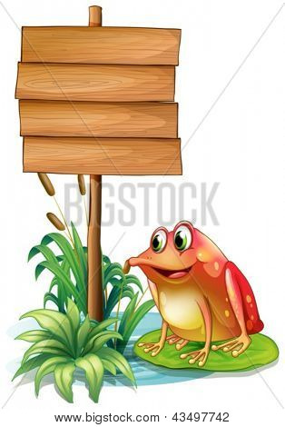 Illustration of frog above a waterlily beside a wooden signboard on a white background