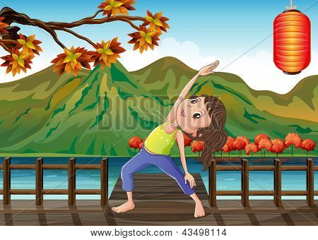 Illustration of a girl exercising at the bridge with a lantern