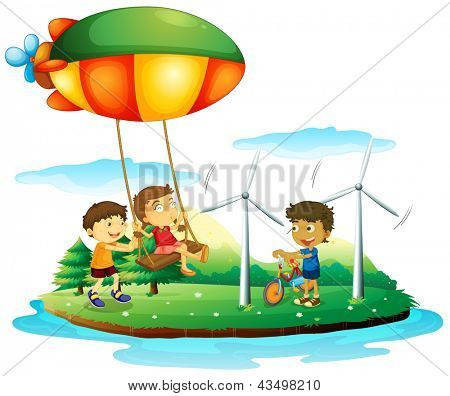Illustration of the three children playing at the park on a white background