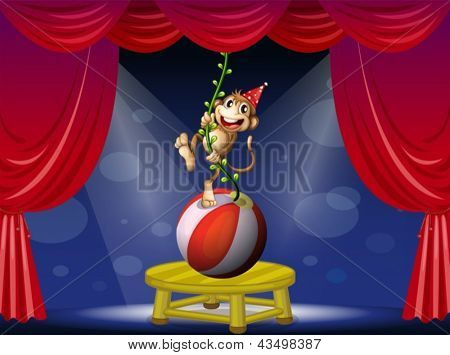 Illustration of a monkey performing at the circus