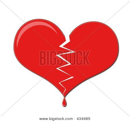 Broken Love Heart Dripping Blood