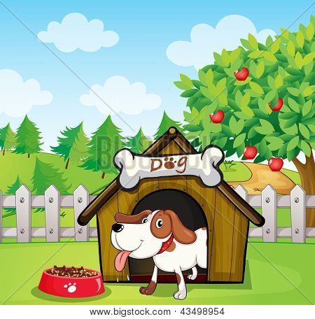 Illustration of a dog inside a doghouse with a dogfood