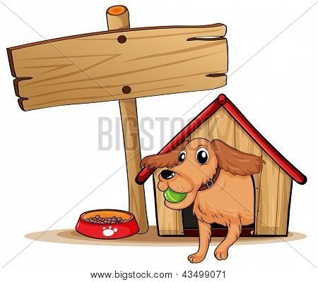 Ilustração de um cão com uma casinha de cachorro ao lado de uma sinalização vazia em um fundo branco