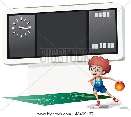 Illustration of a boy playing basketball at the court on a white background