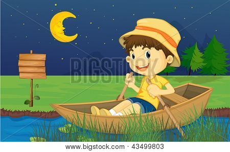 Illustration of a boy riding in a boat