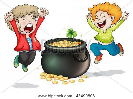 Illustration of the happy faces of two kids with a pot of money on a white background