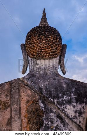 Detail Of Head Of Stone Statue Of Sitting Buddha In Sukhothai Historical Park