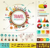 stock photo of continents  - Travel info graphics with data icons and elements - JPG