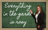 Teacher Showing Everything In The Garden Is Rosy On Blackboard