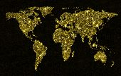stock photo of gold-dust  - Gold glittering light world map - JPG