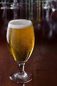 picture of chalice  - golden beer poured in to a chalice on a busy bar top with a shallow depth of field showing lights and glassware out of focus in the background - JPG