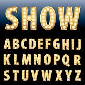 picture of lightning  - vector golden alphabet with bulb lamps - JPG