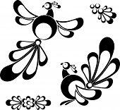 image of white flower  - Birds design elements isolated on white eps8 format - JPG