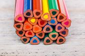 pic of end rainbow  - The ends of multicolored pencils - JPG