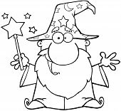 picture of warlock  - Outlined Funny Wizard Waving With Magic Wand - JPG