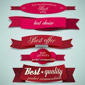 image of coupon  - Set of Superior Quality and Satisfaction Guarantee Ribbons - JPG