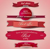 stock photo of high-quality  - Set of Superior Quality and Satisfaction Guarantee Ribbons - JPG