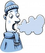 image of exhale  - A cartoon man in cold weather can see his breath - JPG